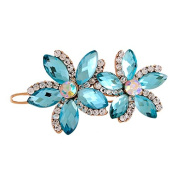 So Beauty Women's Double Flowers Shaped Design Crystal and Rhinestone Hair Slide Clip Accessary Blue
