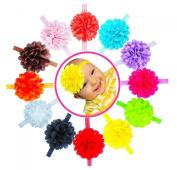 Baby Headband Newborn Infant Girl Mesh Flower Bow 12pcs by ColorBeBe