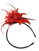 Red Polka Dot Feather Net Big Lily Flower Band Fascinator