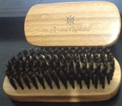 Beard Brush 100% Boar Bristle - Best Small Wooden Military Style Natural Grooming Mens Palm Beard Brush - Reinforced Wild Boar Hair - Firm- Can Be Used With Oil Or Balm To Shape - For Men- Free Soft Travel Bag And Gift Box Included