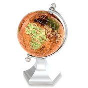 KALIFANO 7.6cm Gemstone Globe with Copper Amber Opalite Ocean with Bright Silver Contempo Stand
