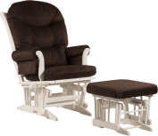 """Ultramotion by Dutailier Sleigh Glider and Nursing Ottoman Combo with """"A"""" Cushion, White/Chocolate Brown"""