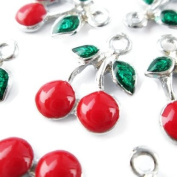 Np Supplies Cherry Charms 12 Pcs Enamalized New Year Green Red Fruit Charm