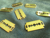 Np Supplies 6 Pcs of Razor Blade Gold Colour Plated Pendant Supplies