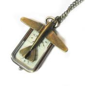 Let's Go Travel Pocket Watch Necklace - Retro Bronze Travel Dual Time Pocketwatch Charm - Plane Pendant