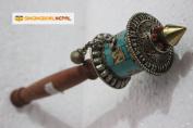 Buddhist Coper & Stone Set Hand-held Prayer Wheel - 22cm with Authentic Wooden Handle