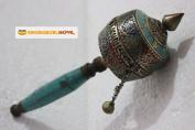 Buddhist Brass & Stone Set Hand-held Prayer Wheel - 23cm with Authentic Wooden Handle