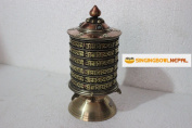 22cm Table Top Copper Brass Tibetan Buddhist Om Mani Padme Hum Prayer Wheel Hand Crafted in Nepal