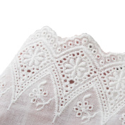 White Cotton Floral Eyelet Embroidered Lace Trim Fabric 4 Inch 10cm Wide By 5 Yards For Garment Skirt Extender Wedding Home Décor DIY Craft Supply