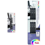 Pentel Arts Pocket Brush Pen with 2 Black Ink Refills and 6 Additional Brush Refills, Black