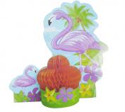 Tropical Beach Theme Pink Flamigos 29cm Honeycomb Centrepiece