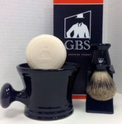 Men's Grooming Set with Shaving Mug with Knob Handle, 100% Pure Badger Brush, Brush Stand and 97% All Natural Gbs Ocean Driftwood Shave Soap