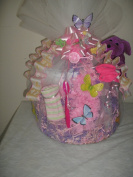 Nappy Cake with Pink Carnations and Butterflies