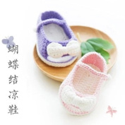Chinese Aunt Hand-woven Cotton Baby Baby Wool Shoes Bow Sandals Birth Baptism Souvenir Gift