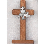 Standing Walnut Stained Communion Cross Gift BOX Included Made in the Usa 15cm Length