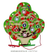 Greencherry Cute Apple Tree Shape Magnetic Maze Puzzle Game Use Pen Drives the Beads Colourful