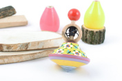 Small colourful handmade wooden eco toy spinning top for children