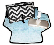 Bae Bae Grey Chevron Travel Changing Station, Portable on the Go Bag, New Premium Design, Includes Quick Access Wipe Dispenser