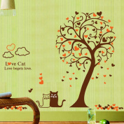 Love Cats Heart Shape Tree Wall Decal Home Sticker Paper Removable Living Dinning Room Bedroom Kitchen Art Picture Murals DIY Stick Girls Boys kids Nursery Baby Playroom Decoration PP-AY9017