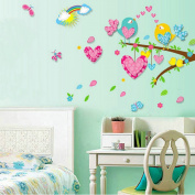 Heartshape Birds Tree Rainbow Wall Decal Home Sticker Paper Removable Living Dinning Room Bedroom Kitchen Art Picture Murals DIY Stick Girls Boys kids Nursery Baby Playroom Decoration PP-AY6001