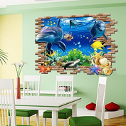 Zooyoo Ocean Animals Dolphin Starfish Cracked Wall Removable Vinyl Mural Art Wall Sticker Decal