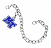 Middle Tennessee State Blue Raiders Sterling Silver Colour Logo Charm Bracelet