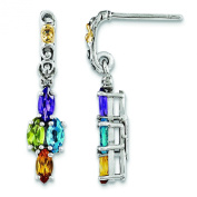 Sterling Silver & 14k Four-stone and Diamond Mother's Earring Semi-Mount