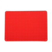 FGN Silicone Fat Reducing Raised Shaped Baking Mat Roasting Mat and Oven Tray-Flexible Large 100% Non Stick Healthy Pyramid Shaped, Red