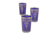 Casablanca Market Moroccan Morjana Tea Glass, Blue, Set of 6