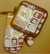 2-pc Kitchen Set Pot Holder Oven Mitt Cafe Coffee Container