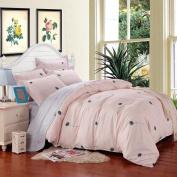 SAYM Home Bedding Sets Elegant Rural Style Print Full Size Set For Lovely Teen Girls 100% Polyester Fibre Duvet Cover, Flat Sheet, Shams Set 4Pieces