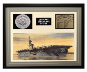 Navy Emporium USS Cape Esperance CVE 88 Framed Navy Ship Display Grey
