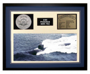Navy Emporium USS Phoenix SSN 702 Framed Navy Ship Display Blue