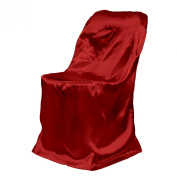 LinenTablecloth Satin Folding Chair Cover Red