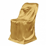 LinenTablecloth Satin Folding Chair Cover Gold
