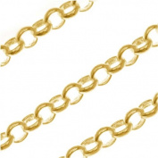 Bright 22K Gold Plated Round Rolo Chain 3.7mm Bulk By The Foot