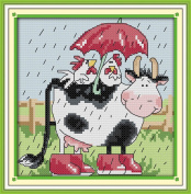 Benway Counted Cross Stitch Two Cocks Take Shelter From Rain On The Cow 14 Count 20X21cm