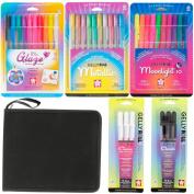 Sakura Gelly Roll Gel Ink Pen Set Kit with US Art Supply Canvas Pen Roll-Up Case