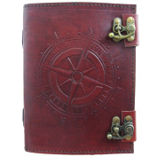Compass Journal-Handmade Leather with Parchment Paper and Double Clasps (7x5) by Viatori