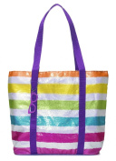 Three Cheers for Girls Stripe Sequin Tote