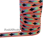 5 YARDS 1.6cm Stretch Tribal Print Fold Over Elastics FOE - Style A