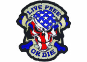Lethal Threat (LT30070) 'LIVE FREE OR DIE' USA Skull Embroidered Patch