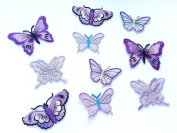 10 asstd LILAC Iron on Stick on Sew on Fabric BUTTERFLY Motifs Embroidery Patch