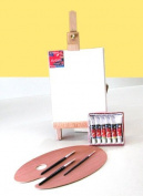 Ultimate Mini Desktop Wooden Easel With Real Canvas Acrylic Paints And 3 Brushes