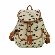 Yonger Fashion Vintage Flower Type Casual Canvas Daypack Backpack School Travel Bag for Girls