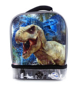 Jurassic World Drop Bottom Reflective 23cm Lunch Box - Grey and Black