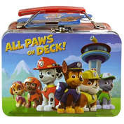 "Nick Jr. ""All Paws on Deck"" Paw Patrol Small Lunch Tin! Featuring Chase, Marshall, Skye, Rubble, Zuma & Rocky! Plus Bonus 24pc. Puzzle Inside!"