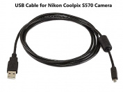 UC-E6 USB Cable for Nikon Coolpix S570 Camera, and USB Computer Cord for Nikon Coolpix S570