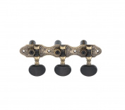 DJ405AB-A2B TENOR Classical Guitar Tuners, Tuning Key Pegs/Machine Heads for Classical or Flamenco Guitar with Antique Brass Finish and Ebony Coloured Buttons.