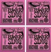 LOT OF 4 - Ernie Ball Power Slinky Electric Guitar Strings, Nickel Wound, P02220